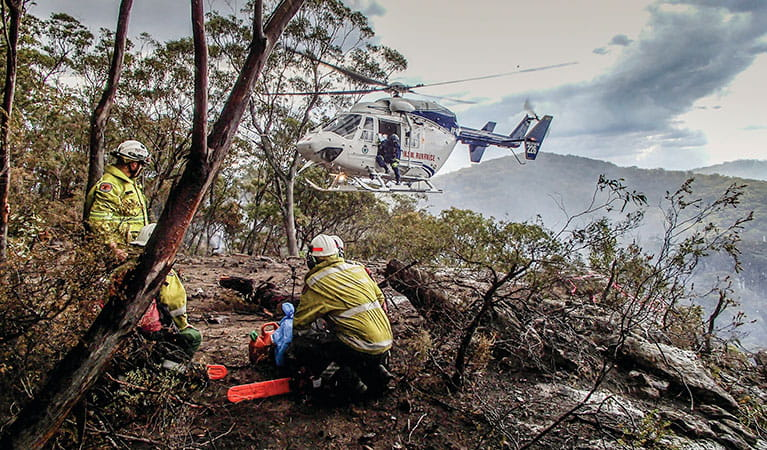 A Remote Area Fire Team (RAFT) at Martindale Creek area near Bulga. Photo: David Croft/DPIE