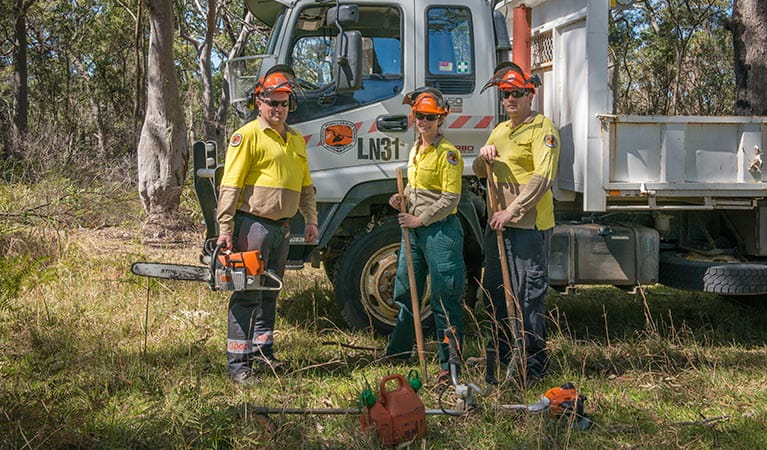 Field officers at work, Tomaree National Park. Photo: John Spencer/DPIE