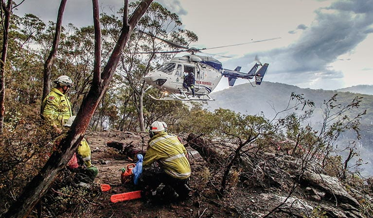 A Remote Area Firefighting Team (RAFT) near Bulga. Photo: David Croft/DPIE