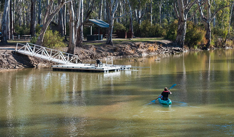 Man kayaking on Edward River, heading back to the kayak launch. Photo: Rhys Leslie/OEH