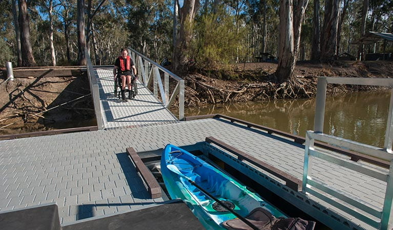Wheelchair-accessible ramp and kayak launch at Edward River Bridge picnic area. Photo: Rhys Leslie/OEH