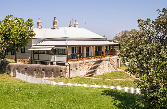 Exterior of Middle Head Officers Quarters heritage accommodation in Sydney Harbour National Park. Photo: John Spencer/DPIE