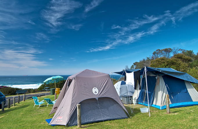 Tents in Frazer campground, Munmorah State Conservation Area. Photo: John Spencer/OEH