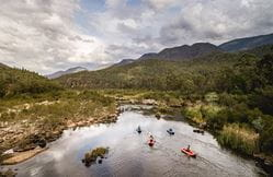 Aerial view of kayakers on Pinch River, Lower Snowy River area of Kosciuszko National Park.