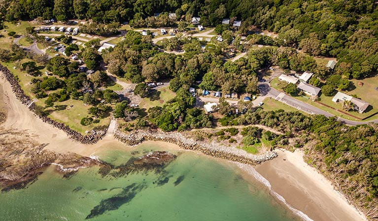 Aerial view of Woody Head campground and cottages, Bundjalung National Park. Photo: John Spencer/OEH