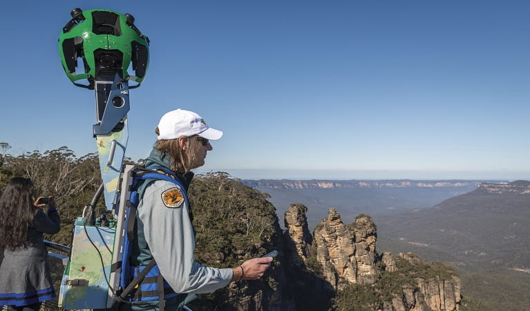 Google Street View trekker at Echo Point lookout, Blue Mountains National Park. Photo: John Spencer