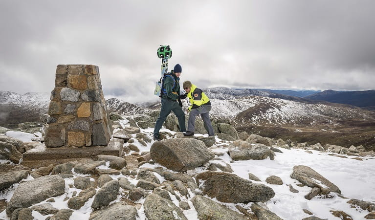 NSW National Parks ranger using the Google Trekker backpack in Kosciuszko National Park. Photo: John Spencer