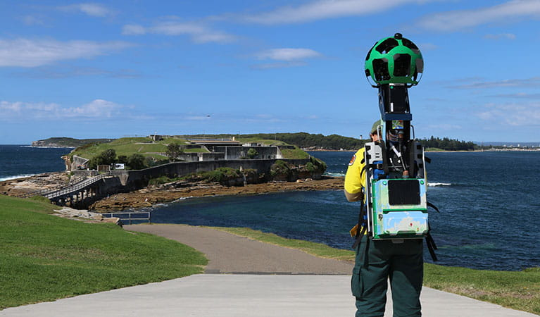 NSW National Parks ranger exploring Kamay-Botany Bay with the Google Street View trekker.