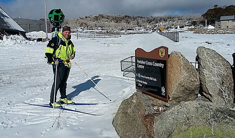 Exploring Perisher cross-country ski trails with Google Trekker backpack. Image: Greg Harmer/OEH