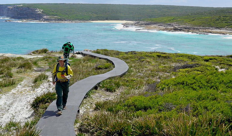Exploring Royal National Park with the Google Street View Trekker backpack. Photo: OEH