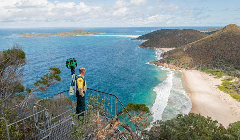 Google Street View trekker exploring Tomaree National Park. Photo: John Spencer