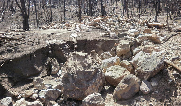 Soil erosion, post fires, Warrumbungle National Park. Photo: OEH