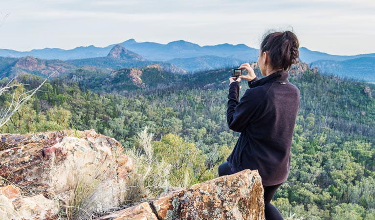 Macha Tor lookout, Warrumbungle National Park. Photo: Simone Cottrell/OEH.