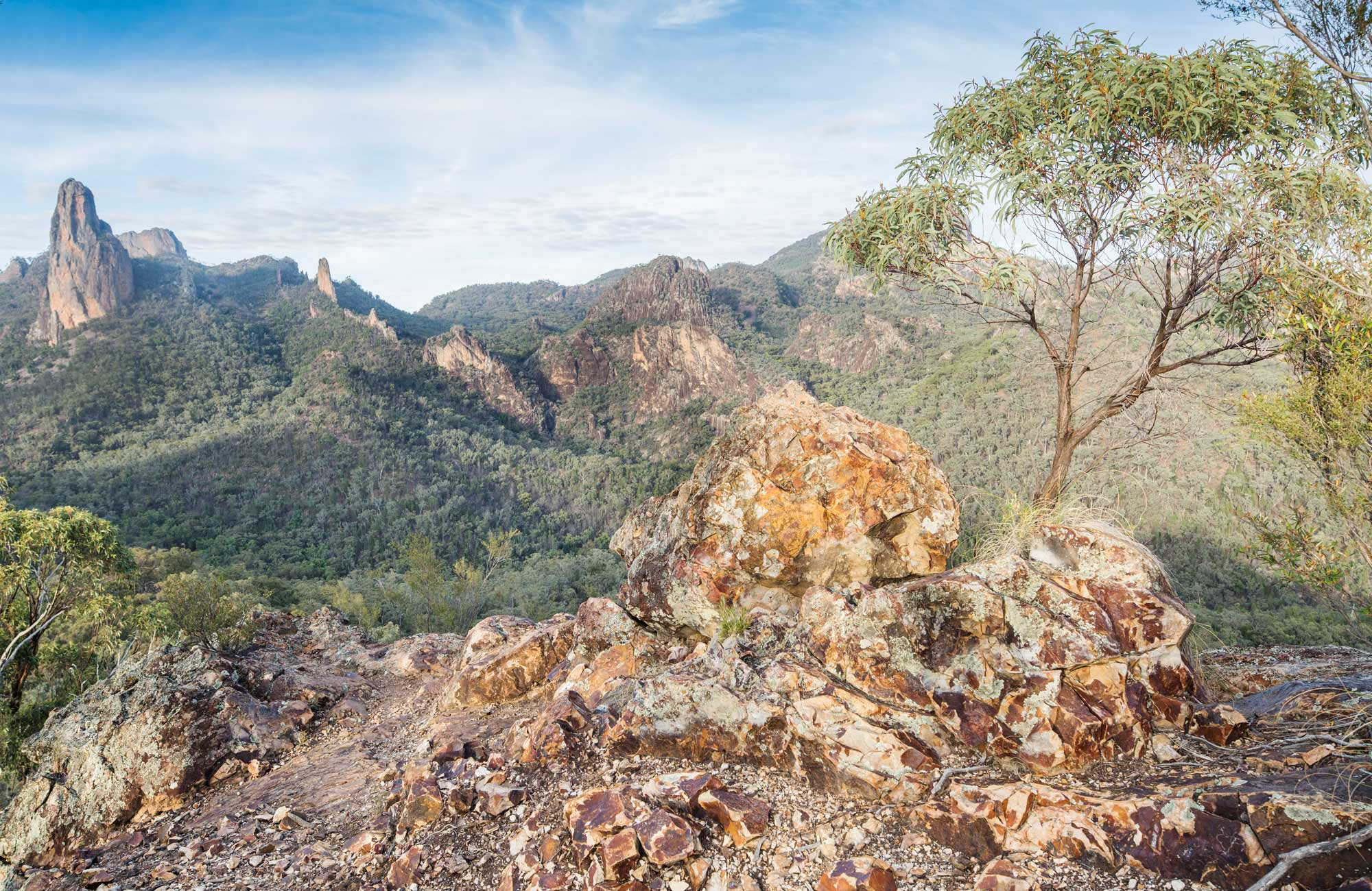 View of Breadknife rock formation in Warrumbungle National Park. Photo: Simone Cottrell/OEH.