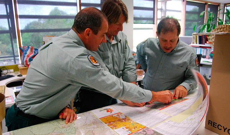 NPWS rangers planning a hazard reduction burn. Photo: OEH