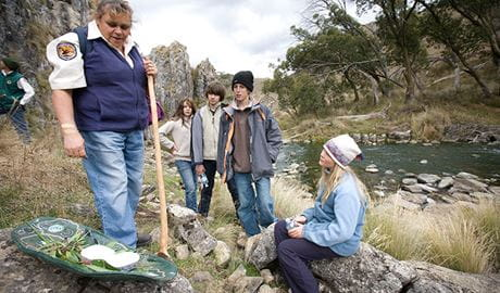 Aboriginal Discovery rangers, Blue Waterholes campground, Kosciuszko National Park. Photo: Murray Vanderveer