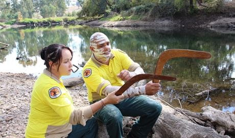 Aboriginal Discovery Rangers with boomerangs, Tumut, Kosciuszko National Park. Photo: Lisa Freebody/OEH