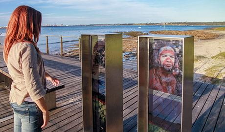 Interpretive signs along Burrawang walk, Kamay Botany Bay National Park. Photo: Andrew Richards