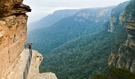 Enjoying the view, National Pass, Blue Mountains National Park. Photo: David Finnegan
