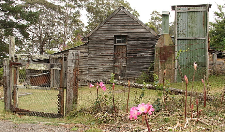 Loch Garrah homestead and the try works site, Davidson Whaling Station Historic Site. Photo: John Yurasek/DPIE