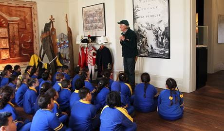 Students and NPWS guide inside the La Perouse Museum. Photo: Kim Collas