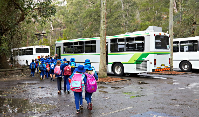 Students walking to the bus on a Royal National Park school excursion. Photo: Tanja Bruckner
