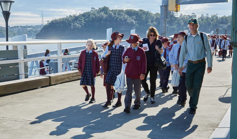 Students arriving at Goat Island for a Convict Kids school excursion, Sydney Harbour National Park. Photo: Tanja Bruckner