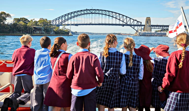 Students on board the ferry to Goat Island for a Convict Kids school excursion, Sydney Harbour National Park. Photo: Tanja Bruckner