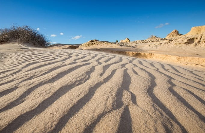 Dramatic formations of sand and silt deposited over tens of thousands of years in Mungo National Park. Photo: Vision House Photography © OEH