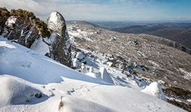 Alpine environment, snow-covered mountain range, Kosciuszko National Park. Photo: John Spencer