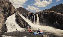 2 kayakers paddling in rapids on Snowy River in Kosciuszko National Park. Photo: Vera Hong