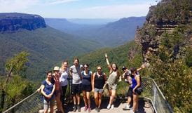 Tour participants at a lookout in Blue Mountains National Park. Photo: Adam Hammond