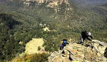 2 climbers wearing helmets climb over a rugged sandstone ledge with forest-clad mountains in the background. Photo credit: Hugh Ward © Blue Mountains Climbing School