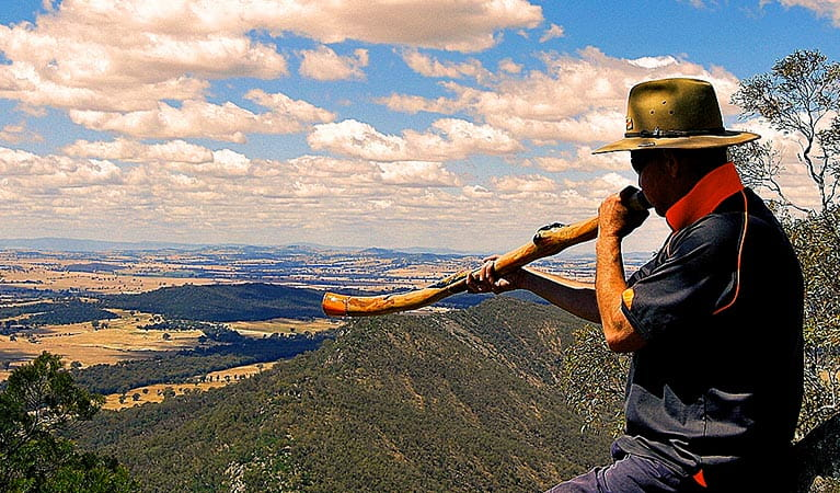 A man plays a  didgeridoo in front of a sweeping vista of forest-clad hills and distant plains. Photo credit: Mark Saddler © Bundyi Cultural Tours
