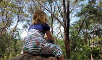 The back of a child sitting on a log, looking at the surrounding bushland. Photo: Brian White © Bushlarks Outdoor Adventures