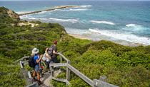 A group of people taking in the view of the ocean at a lookout on a coastal hike with Coast XP in Wallarah National Park. Photo © Coast XP