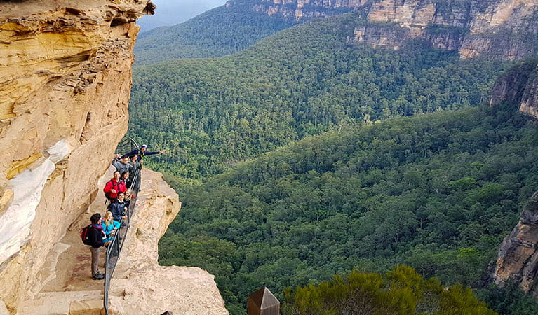 Hikers look out over a vast wilderness from steps along a cliff face in Blue Mountains National Park.  Photo © Emu Trekkers