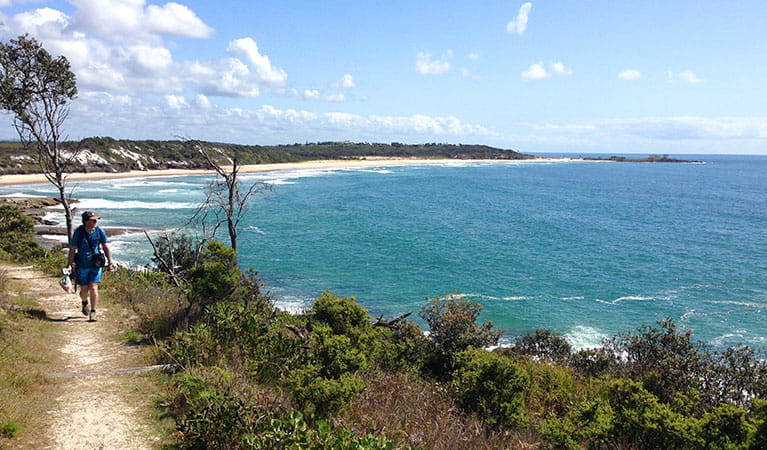 A hiker walks along a coastal track in Yuraygir National Park. Photo: Marcus Ludriks © Home Comforts Hiking