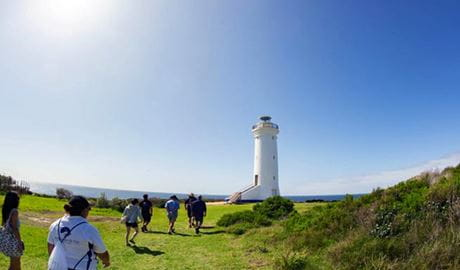 View of people walking over green grass toward the white tower of Point Stephens lighthouse. Photo credit: Bonita Holmes-Nu © Moonshadow-TQC Cruises