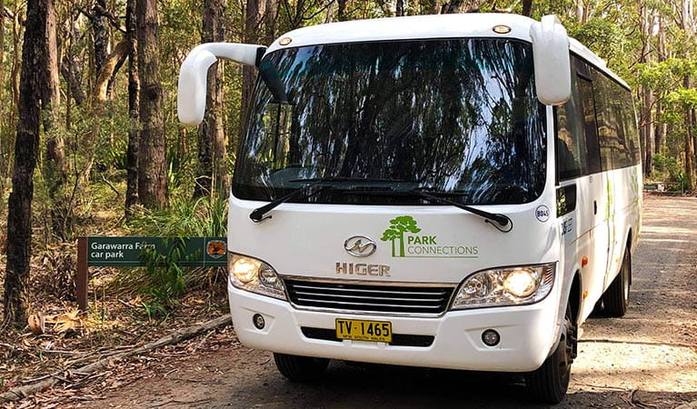 A Park Connections bus at Garawarra Farm carpark. Photo: Busfleet Australia