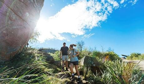 A couple walking downhill along a walking track surrounded by grasses, with blue sky and sun in the background. Photo credit: Ben Barry © Personalised Sydney Tours