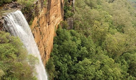 Water cascades over the top of a cliff at Fitzroy Falls. Photo credit: John Yurasek ©  DPIE