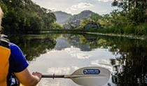 A paddler crosses Ganguddy-Dunns Swamp at daybreak. Photo © Southern Cross Kayaking