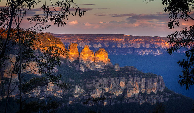 Sweeping view of the Three Sisters rock formations at twilight, in Blue Mountains National Park. Photo © Sydney Scenic Private Tours