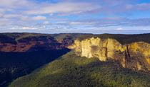 Wide view of Blue Mountains rocky cliff bands, mountain flanks and forest-clad valleys. Photo credit: Ines Gormley © Waratah Adventure Tours