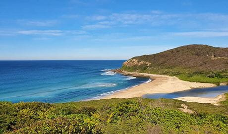 The view of the beach from Yuelarbah walking track in Glenrock State Conservation Area. Photo: Sharon Mackay © Women Embrace Adventure