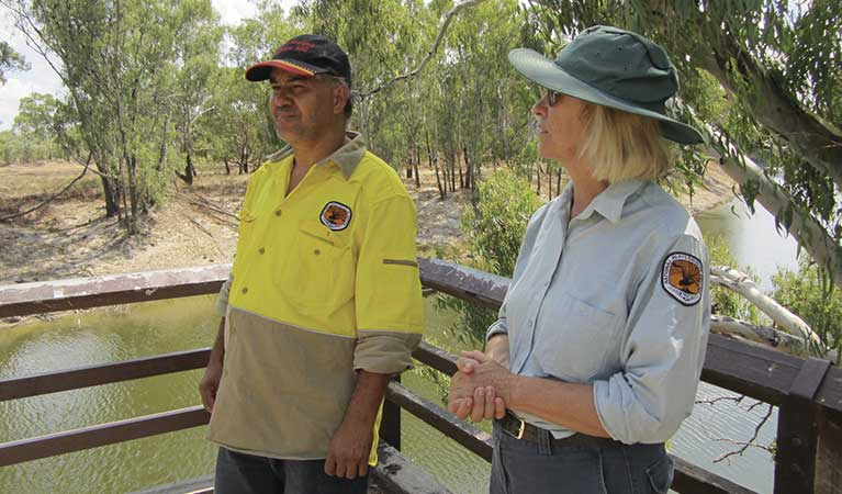 Aboriginal Discovery Coordinators at the reconstructed Bourke Wharf on banks of Darling River. Photo: P Nicholas/OEH