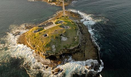 Aerial view of Bare Island and the fort, Kamay Botany Bay National Park. Photo: S Cohen/OEH