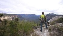 Bushwalker looking out at sweeping views, Blue Mountains National Park. Photo: Elinor Sheargold/OEH