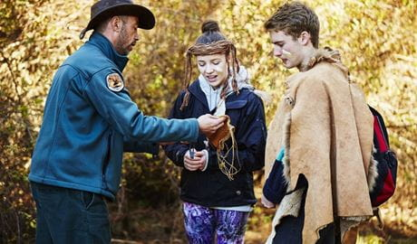 A ranger and teenagers at a NPWS activity, Blue Mountains National Park. Photo: Tanja Bruckner/OEH